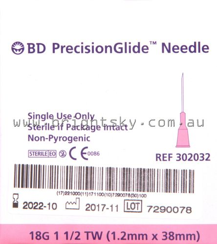 BD Sterile Needle 18G 38mm Box100