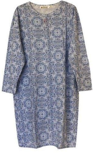 PB Nightie L/S Damask Blue Sml
