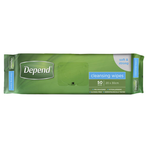 Depend Cleansing Wipes 20x30cm Pk50