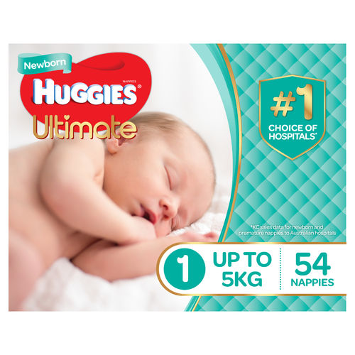 Huggies Ultimate Nappies Newborn size 1-Unisex Ctn4 (Pk54)