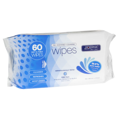 Jaderma Pre-Moistened Water Cleansing Wipes Pkt60