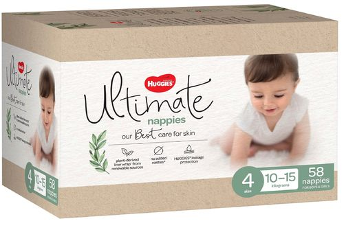 Huggies Ultimate Nappies Size 4 Toddler 10-15kg Ctn58